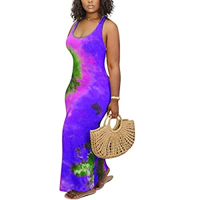 Comfy stretchy fabric used for this long maxi dress, Sexy Summer Dresses for Women is very Soft and Comfortable Feature: Bohemia, Cover Up, Scoop Neck, Sleeveless, Racerback, floral maxi, tank top bodycon long dress, women's basic tank bodycon sleeve...