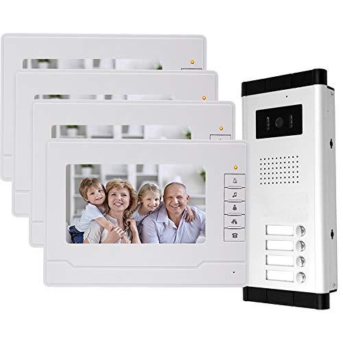 uoweky Cablato 7 TFT-LCD Videocitofono Citofono 4 Monitor Interni + 700TVL IR Telecamera per Esterni Visione Notturna ad Alta Risoluzione per 4 Appartamenti/Famiglie