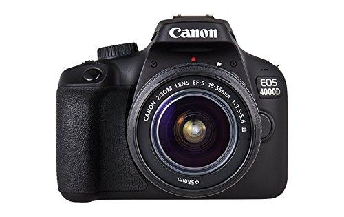 Canon EOS 4000D DSLR Kamera Gehäuse + EF-S 18-55mm III Objektiv (18 MP, DIGIC 4+, EOS Movie Full HD, WiFi) schwarz