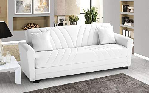 Divano 3 posti bianco in similpelle - 220 x 88 x 83h cm, vano contenitore, trasformabile in letto una piazza e mezza