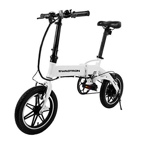 SWAGTRON Swagcycle EB-5 Lightweight & Aluminum Folding Ebike with Pedals, White, 58cm/Medium