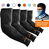ARMORAY Arm Sleeves for Men or Women Basketball Golf Running Football Cycling (Black 4 Pair)