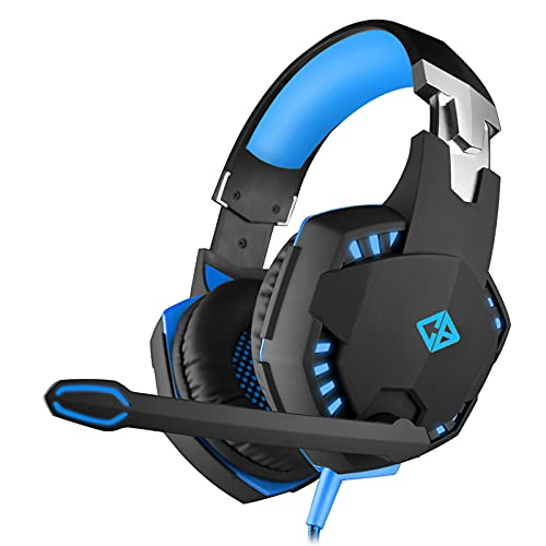 Cosmic Byte Over the Ear Headsets with Mic & LED - G2000 Edition (Black/Blue) Rubberized Texture