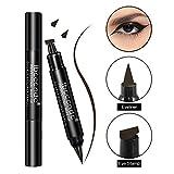 2 Pcs Coffee Eyeliner Stamp Waterproof Smudge Proof - Dual Ended Liquid Eye Liner Pen, Long Lasting & Sweatproof Makeup for Perfect Cat Eye Look (#05 Coffee)