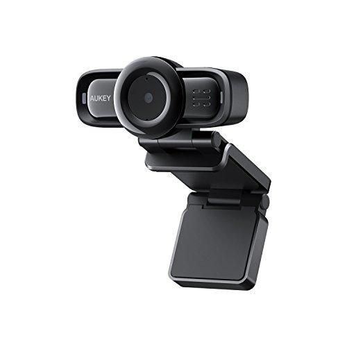 Aukey 1080p Webcam Mise au Point Automatique avec réduction du Bruit ambiant, Full HD Webcam USB pour Widescreen Appel vidéo et Enregistrement