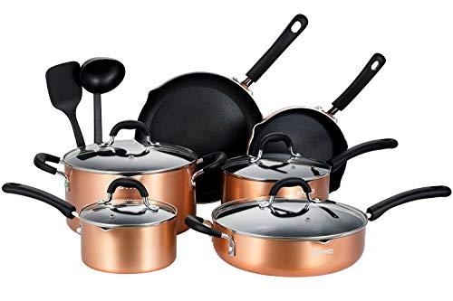 EPPMO Set di utensili da cucina in alluminio antiaderente, padelle, pentole e casseruole con coperchio per tutti i tipi di fornelli inclusi induzione senza PFOA, 12 pezzi di colore rame