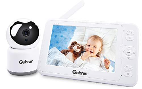 Baby Monitor 5'' 1080P IPS Video Registrazione 360° Visione 4 Telecamere Estendibile,Gobran Videosorveglianza,Visione Notturna,Attivazione VOX,Audio Bidirezionale,8 Ninnananne,Sensore di Temperatura