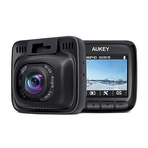 AUKEY Dash Cam FHD 1080P Telecamera per Auto Obiettivo Grandangolare di 170 Gradi Super-Condensatore Dashcam con WDR, Rilevatore di Movimento, Loop, G-Sensor e Caricatore USB da Auto a 2-Porta