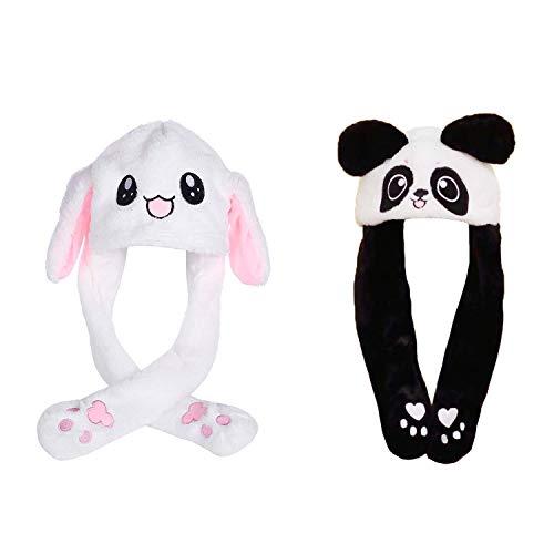 Mein HERZ 2 Pz Simpatico Cappello di Coniglio Cappuccio Orecchie da Coniglio Stile di Panda di Coniglio della Ragazza Il Miglior Regalo per Ragazze,Tenere l'airbag per Spostare l'orecchio