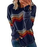Longra_Clothing Mujeres Casual Cuello Redondo Camiseta de béisbol Top de Empalme a Rayas Raya Cuello Redondo Blusas para Mujer Suelta Tops Mujer Fiesta