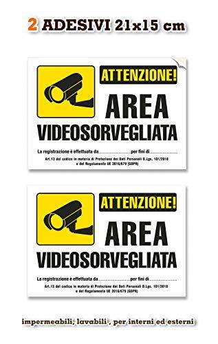 2 Adesivi Videosorveglianza impermeabili, in pvc/poliestere - mis: 21X15 cm - Italiano, 2 pz.