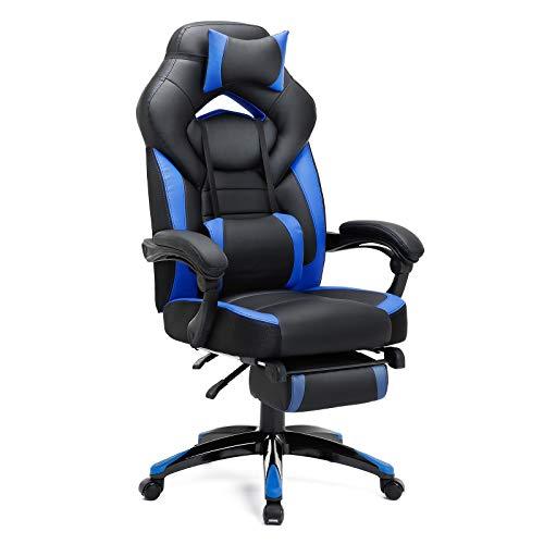 SONGMICS Gamingstuhl, Bürostuhl mit Fußstütze, Schreibtischstuhl, ergonomisches Design, verstellbare Kopfstütze, Lendenstütze, bis zu 150 kg belastbar, Schwarz-Blau, OBG77BU