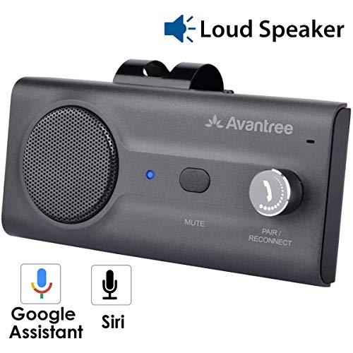 Avantree CK11 Kfz Bluetooth Freisprecheinrichtung Freisprechanlage Auto Car Kit für Sonnenblende, Lauter Lautsprecher, Siri Google Assistant Unterstützung, Lautstärkeregler, Bewegung Auto AN – Titan