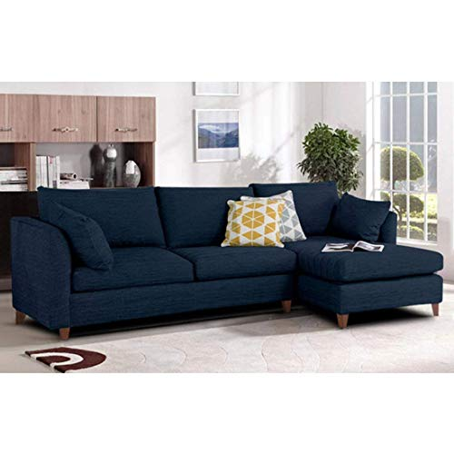Furny Farina Spacious FHD529 Four Seater Sofa (Dark Blue)