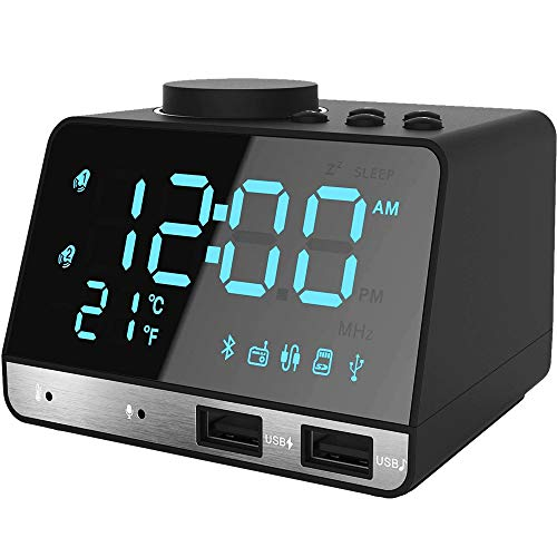"Thpoplete Clock Radio, 4.2"" LED Digital Alarm Clock with Dual Port USB Charger, FM Radio, Snooze, Bluetooth AUX TF Card Play, Battery Backup, Large Dimmable LED Display for Bedroom, Best Gift for Men"