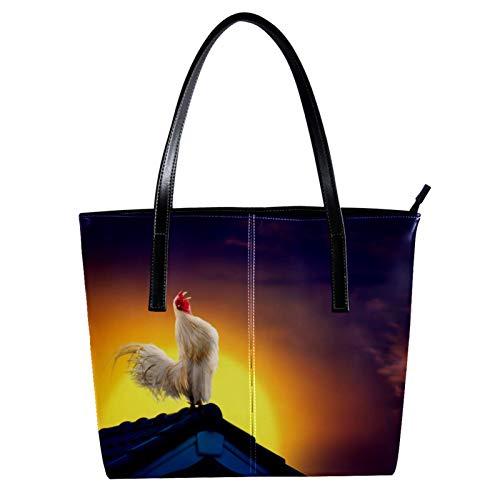 LORVIES - Borsa a tracolla in pelle PU con gallo, colore: Bianco cantante sul tetto Lever Du Soleil Ciel Paesaggio, borsa a tracolla da donna