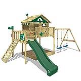 WICKEY Aire de jeux Portique bois Smart Coast avec balançoire et toboggan vert, Maison enfant sur pilotis avec bac à sable, échelle d'escalade & accessoires de jeux