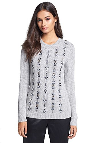 41nv94X uhL Cool-tone jewels glitter the front of a relaxed cashmere-enriched sweater vertically striped by ribbing Ribbed neck and sleeves Crew neck
