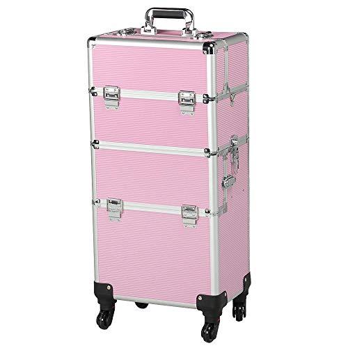 Yaheetech Friseurkoffer Alu Kosmetikkoffer Schmuckkoffer Beautycase Koffer Trolley Visagistenkoffer mit Schlösser und Tragegurt
