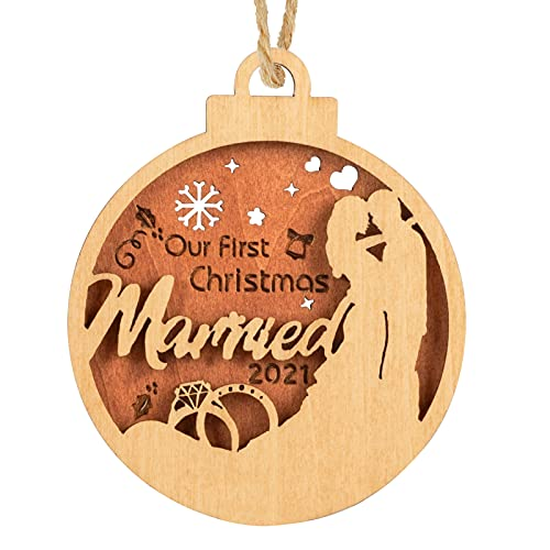 Creawoo Our First Christmas Married 2021 Ornament, Wooden...
