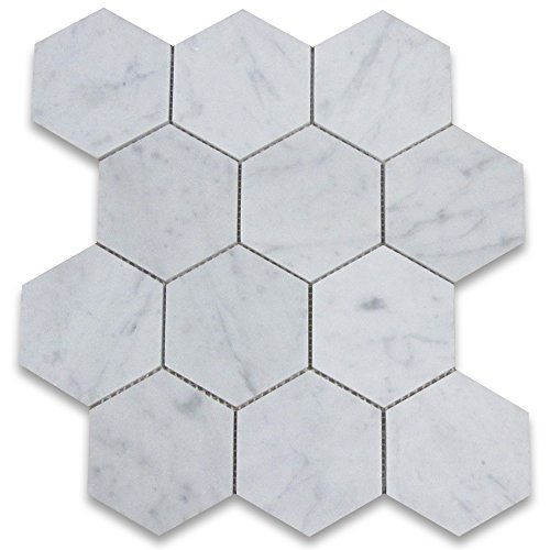 Stone Center Online Carrara White Marble 4 inch Hexagon Mosaic