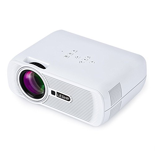 Leshp, Mini-LED-Beamer HD 1080p HDMI / VGA / USB / AV / TV Home Cinema 1300 Lumen Bianco