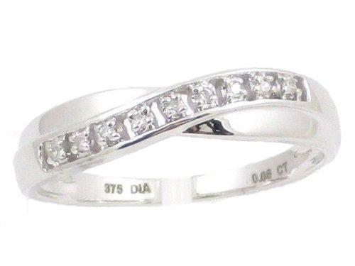 La Colección Anillo Diamante : Anillo Oro Blanco 9ct Set de Diamante 0.05ct, Anillo de Eternidad Perfecto para Regalo, Aniversario, compromiso, talla del anillo 19