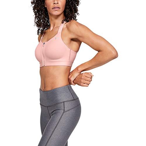 Under Armour Women's Eclipse High Impact Front Zip Sports Bra, Ballet Pink (981)/Metallic Silver, 34D