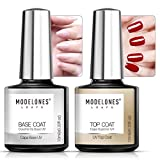 Modelones Gel Nail Polish No Wipe Top and Base Coat Set 2x10ml UV LED Soak Off New Upgraded Formula Long-Lasting Gloss and Shiny Finish For Home DIY And Nail Salon…