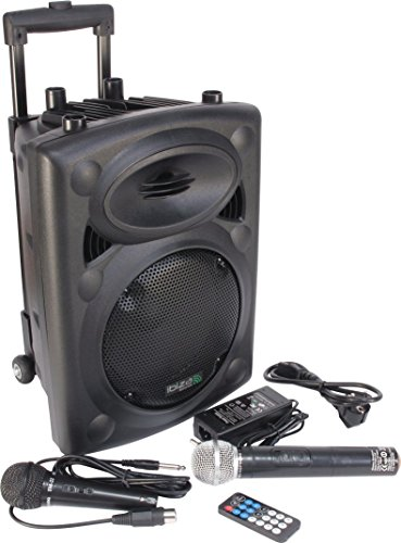 Ibiza PORT8VHF-BT-WH Impianto audio portatile cassa attiva (400 Watt, ingressi USB SD MP3, 2 microfoni, batteria integrata, telecomando), nero