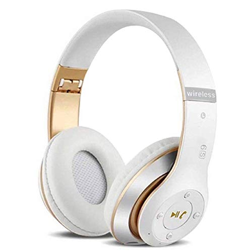 6S Over-ear Wireless Cuffie, Cuffie Wireless Bluetooth Cuffie Wireless Stereo Pieghevoli ad Alta Fedeltà, Microfono Incorporato, Micro SD/TF, FM (per iPhone/Samsung/iPad/PC) (Oro bianco)