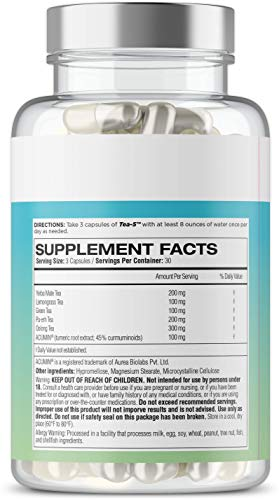 Tea-5 All-Natural Detox Supplement for Women: Herbal Detoxification with Curcuminoids, 5 Types of Tea to Boost Metabolism, Support Natural Energy, and Boost Gut Health, 90 Capsules 2