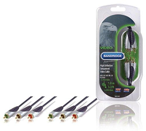 Bandridge SVL3301 cavo video e componente (YPbPr) 1 m 3 x RCA Nero, Grigio