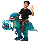 Spooktacular Creations Inflatable Halloween Costume Ride A Raptor Inflatable Costume with LED Light Eyes - Blue, Child (7-10) Unisex