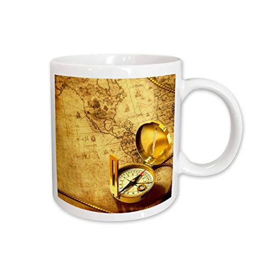 3drose Boussole sur une carte de voyageurs Mug en céramique, 425,2gram