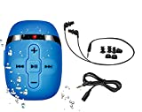 Sewobye Waterproof MP3 Player for Swimming and Running,Underwater Headphones with Short Cord, Shuffle Feature (Blue)