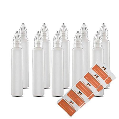 10 x 30 ml bottiglie o penna Bottiglia Unicorn - bottiglie di plastica di PE morbido (bianco / trasparente) - bottiglia liquido per e-liquido - facile riempimento di sigarette elettroniche