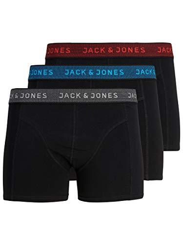 JACK & JONES Jacwaistband Trunks 3 Pack Noos Boxer, Grigio (Hawaian Ocean/Fiery Red), Small (Pacco da 3) Uomo