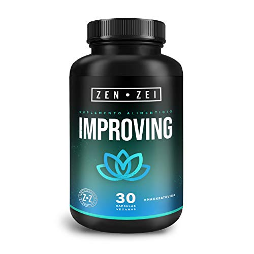 ZEN•ZEI | IMPROVING MOOD - Complejo Anti-Estrés 100% Natural — Formulado para: Regular, Relajar, Calmar — Con Magnesio, 5-HTP, GABA, Ashwagandha, Manzanilla, Calcio y Complejo B — Cápsulas Veganas