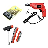 shopper 52.com Powerful Metal and Plastic Drill Machine with 13 Pieces Drill Bit Set and 21 Pieces Toolkit Screwdriver Set Combo