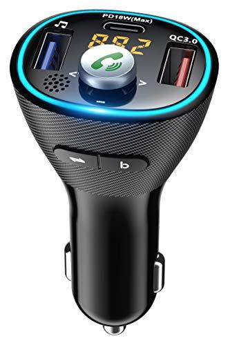 Cocoda Transmetteur FM Bluetooth 5.0, Kit Main Libre Voiture avec PD 18W USB-C & QC 3.0, Lumière Bleue & Amplificateur de Basse, Adaptateur Bluetooth Voiture Support Clé USB/Siri/Assistant Google