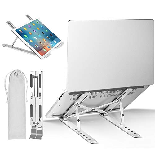 iVoler Laptop Ständer, Ergonomisch Notebook Ständer, Computerhalterung, Tragbarer Laptopständer Halter Belüftet für MacBook-Computer, 6-Fach höhenverstellbar - Silber
