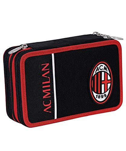 Seven Astuccio 3 Scomparti Milan, Winners Club, Rosso e Nero, Completo di Matite, Penne, Pennarelli...