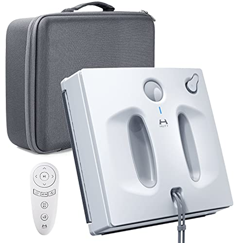 HUTT W66 Robot Nettoyeur de Vitres 2600Pa, Réservoir d'eau de 150 ml, Robot de Nettoyage de Vitres Contrôlé par Télécommandé, Sortie Vocale, pour Fenêtres carrelages, miroirs