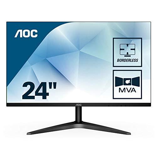 AOC 24B1H Monitor LED da 23.6', Pannello MVA, FHD, 1920 x 1080, No VESA, VGA, HDMI, Senza Bordi, Nero