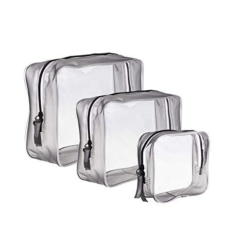 3 Pezzi Borse da Toilette Trasparente PVC Cerniera Sacchetto Impermeabile Cosmetici Trucco Portatrucchi Pochette da Toletta OrganizerTre dimensioni