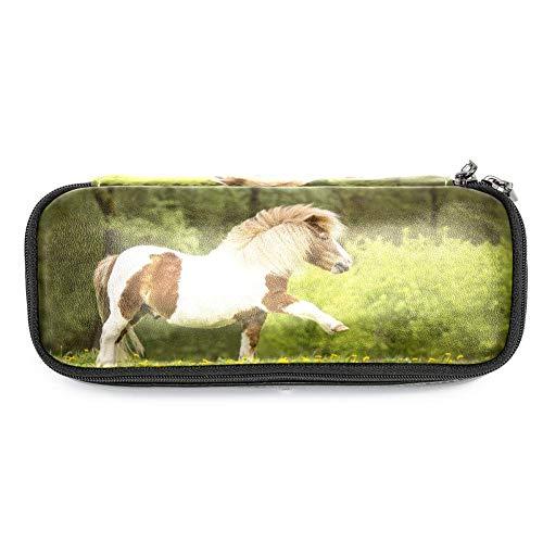 Cavallo Ragazza di pelle carina matita sacchetto matita box per la scuola,19x7.5x3.8cm