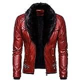Landscap Men's Leather Jacket Vintage Steam Pocket Zipper Jacket Fur Collar Punk Gothic Retro Coat Red