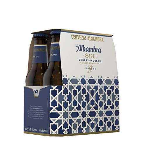 Alhambra Sin Alcohol Cerveza Lager Dorada – Pack de 6 Bote