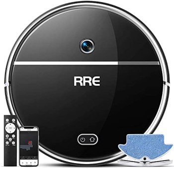 RRE Robot Vacuum, 2-in-1 Vacuum and Mop, Ideal for Pet Hair,Floor and Low Pile Carpets,Smart Mapping,Wi-Fi Connected, Slim Robotic Vacuum Cleaner, Self-Charging, Auto,Strong Suction,Works with Alexa